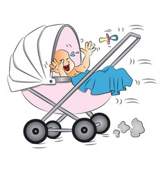 baby crying in pram vector image vector image
