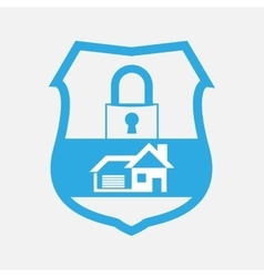 Blue button home security lock vector