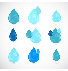 Blue Water Drops Symbols Set vector image vector image