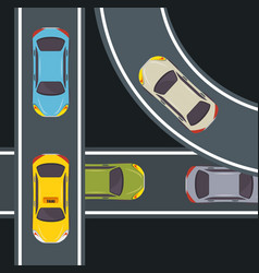 Cars and highway design vector