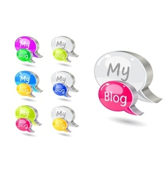 Chat icon set with blog word vector image vector image