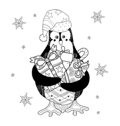 Christmas Penguin with gifts vector image vector image