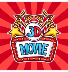 Cinema and 3d movie advertising background in vector image