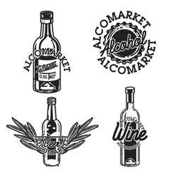 Color vintage alcomarket emblems vector
