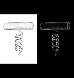 corkscrew hand drawn sketch on white and black vector image