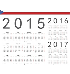 Czech square calendars 2015 2016 2017 vector image vector image