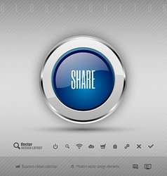 Design elements blue and gray glossy button with vector