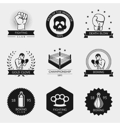 Fighting and boxing black logo set vector