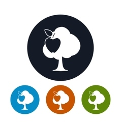 Four types of round icons apple tree vector
