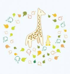 giraffe and duck vector image vector image