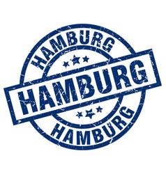 Hamburg blue round grunge stamp vector