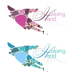 Helping hand emblems vector
