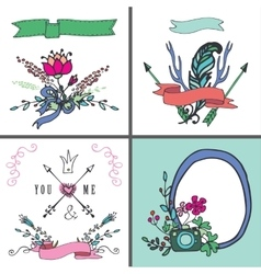 Holiday doodle floral cardvintage hand sketchy vector