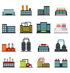 Industrial building factory set flat icons vector
