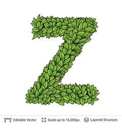 Letter z symbol of green leaves vector