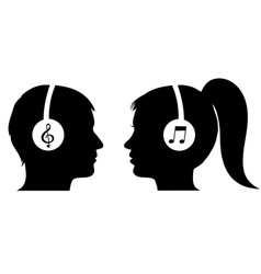 Man and woman listening to music vector image