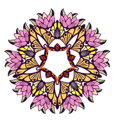 Mandala colorful floral ornament vector