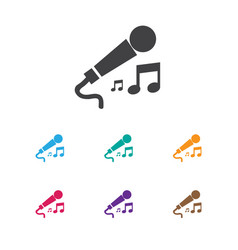 Of music symbol on microphone vector