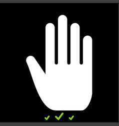 open human hand it is white icon vector image
