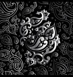 Paisley beautiful silver seamless background vector