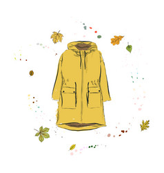 Parka jacket of yellow color outerwear on the vector