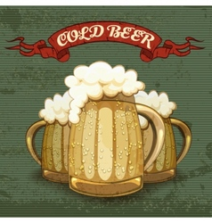 Retro style poster for Cold Beer vector image vector image