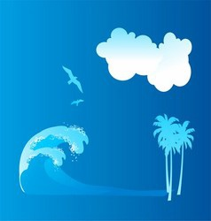 Sea wave blue backgroud with bird and cloud vector