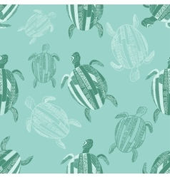 Seamless pattern with stylized turtles Turquoise vector image vector image