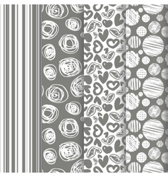 set of seamless abstract pattern in retro style vector image vector image