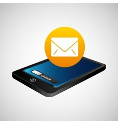 Smartphone blue screen unlock icon email vector