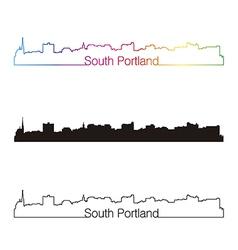 South portland skyline linear style with rainbow vector