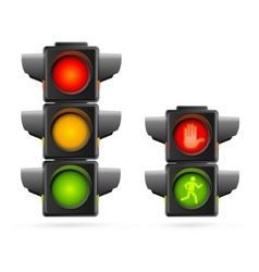 Traffic Lights Set Realistic vector image vector image