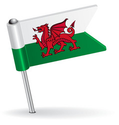 Welsh pin icon flag vector image vector image