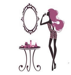 Woman looking at mirror vector image vector image