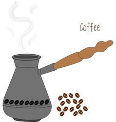 Turkish fishborn coffee pot prepared with coffee vector