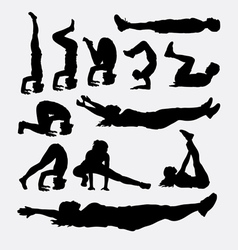 Male and female training sport silhouette vector