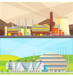 Eco Waste Industry 2 Flat Banners vector image