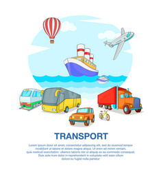 Types of transport concept cartoon style vector