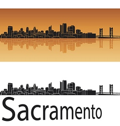 Sacramento skyline in orange background vector