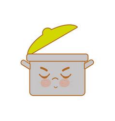 kawaii nice angry cooking pot vector image