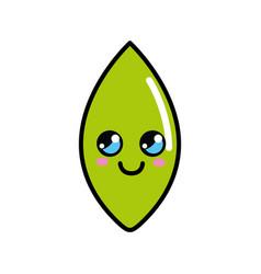 kawaii cute thinking leaf icon vector image