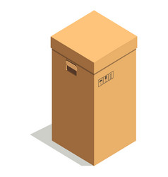 simple brown cardboard box with small signs and vector image
