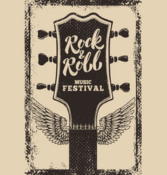 Rock and roll festival poster template guitar vector