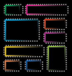 set of neon colored frames vector image
