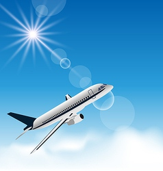 Realistic background with flying airplane vector