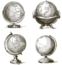 Set of four hand drawn globes vector