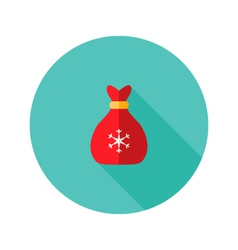 Christmas bag with snowflake flat icon vector