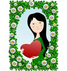 girl with heart vector image