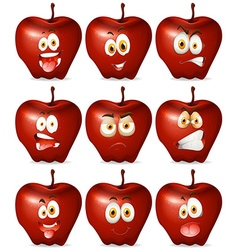 Red apple with facial expression vector