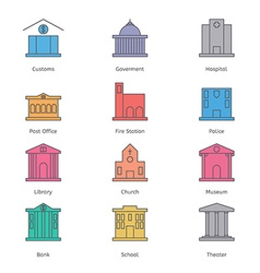 Government building icons set of police museum vector
